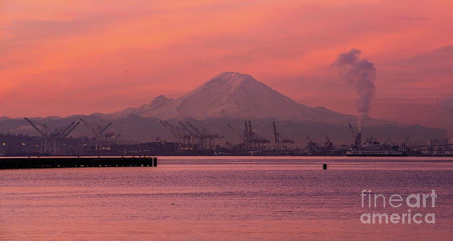 Mount Rainier Sunrise Over Elliott Bay Photograph