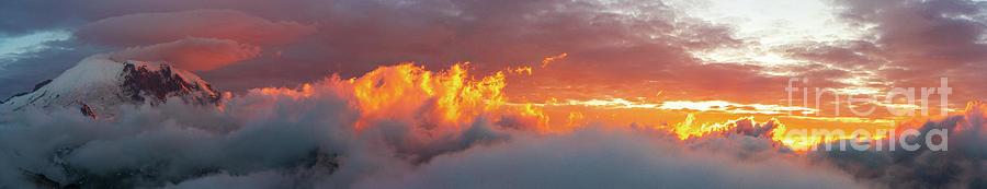 Mount Rainier Waves Of Fire Sunset Skies Lenticular Panorama Photograph