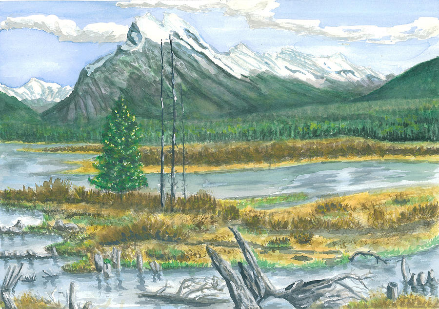 Mount Rundle Canadian Rockies Painting by Dan Bozich