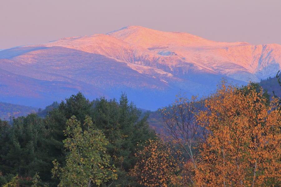 Mount Washington First Light On Snow Foliage Photograph