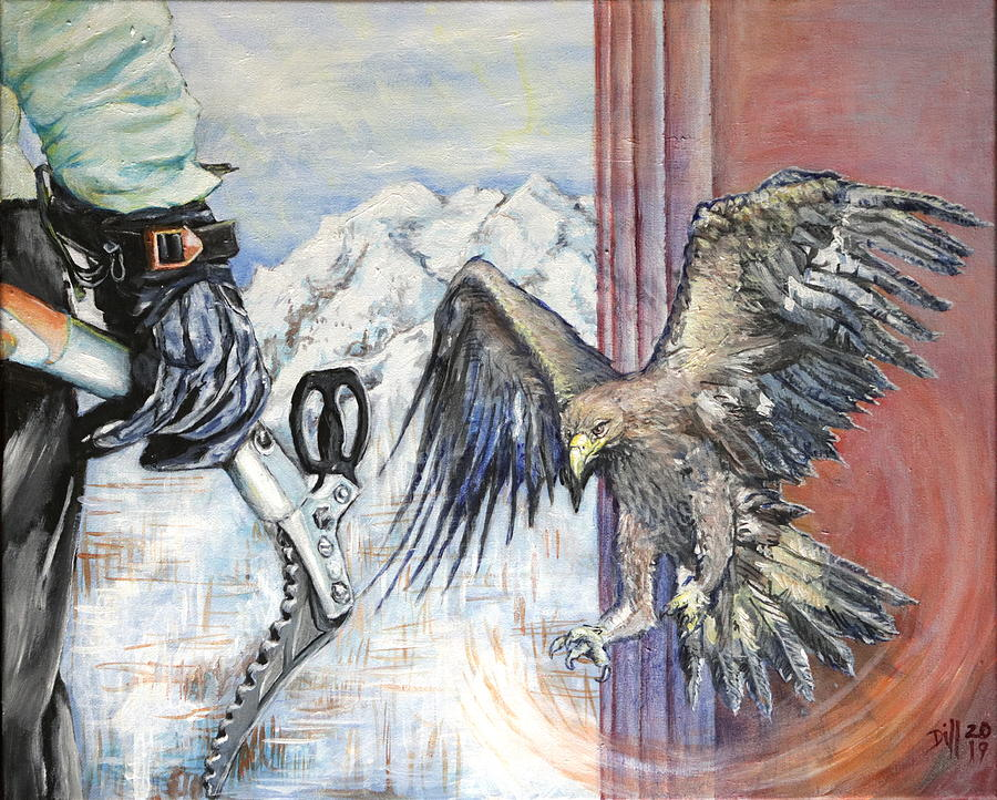 Mountain Climbing with Golden Eagle Painting by Rust Dill