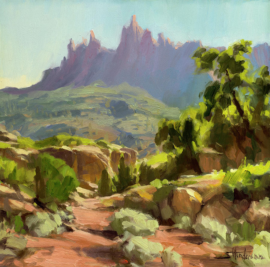 Zion Painting - Mountain of Spires by Steve Henderson