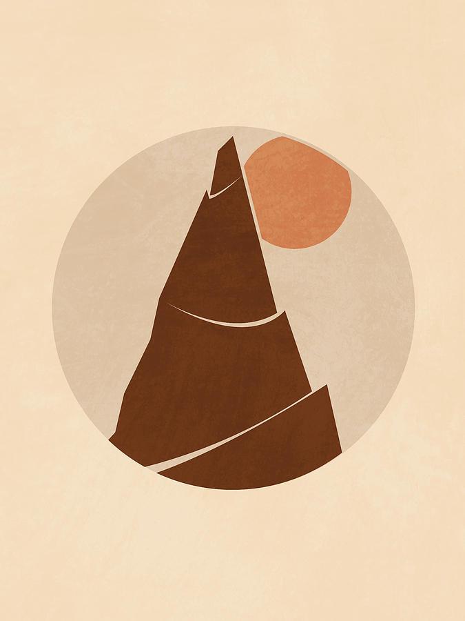 Mountain Peak Minimal - Scandinavian Print - Brown Mixed Media