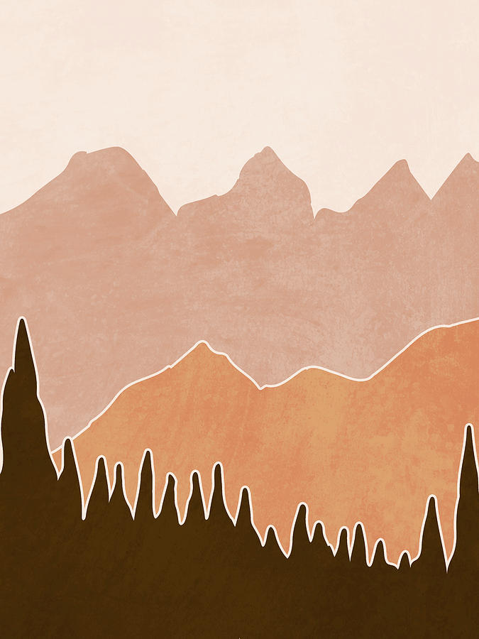 Mountain Ranges Minimal - Scandinavian Print Mixed Media