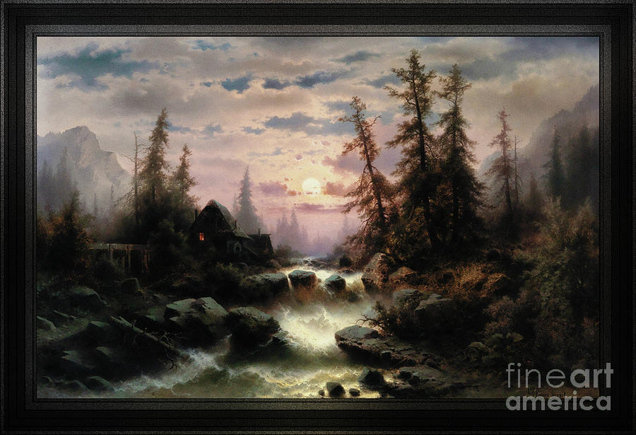 Mountain Stream in the Moonlight by Albert Rieger by Xzendor7