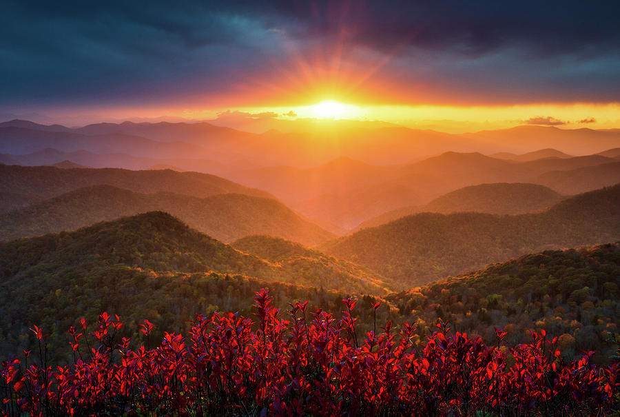 Mountain Sunset North Carolina Blue Ridge Parkway Autumn Landscape Asheville Nc Photograph