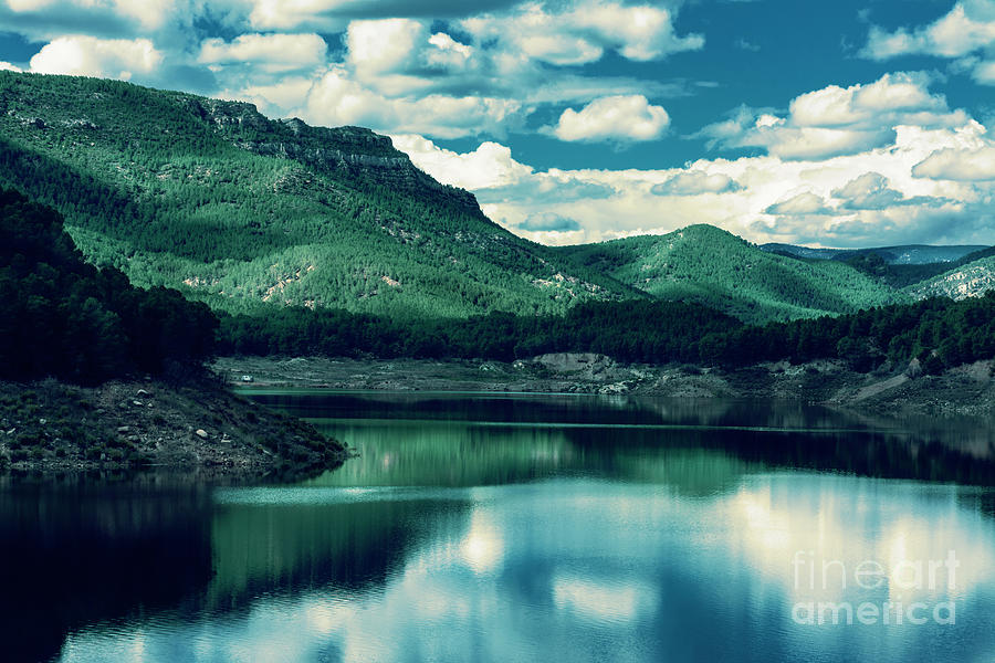 Blue Photograph - Mountains By The Lake by Vicente Sargues