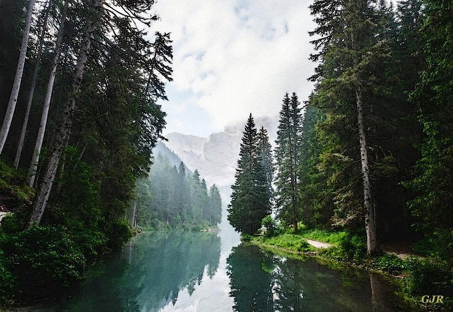 Mountains, Forest And River Landscape - Winterton Park  L A S Digital Art