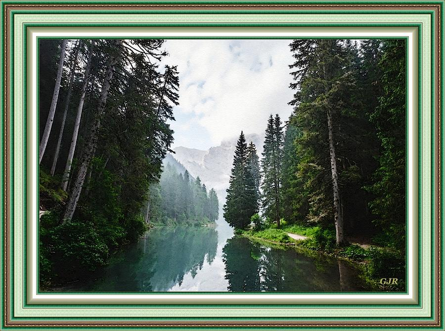 Mountains, Forest And River Landscape - Winterton Park  L A S - With Printed Frame. Digital Art