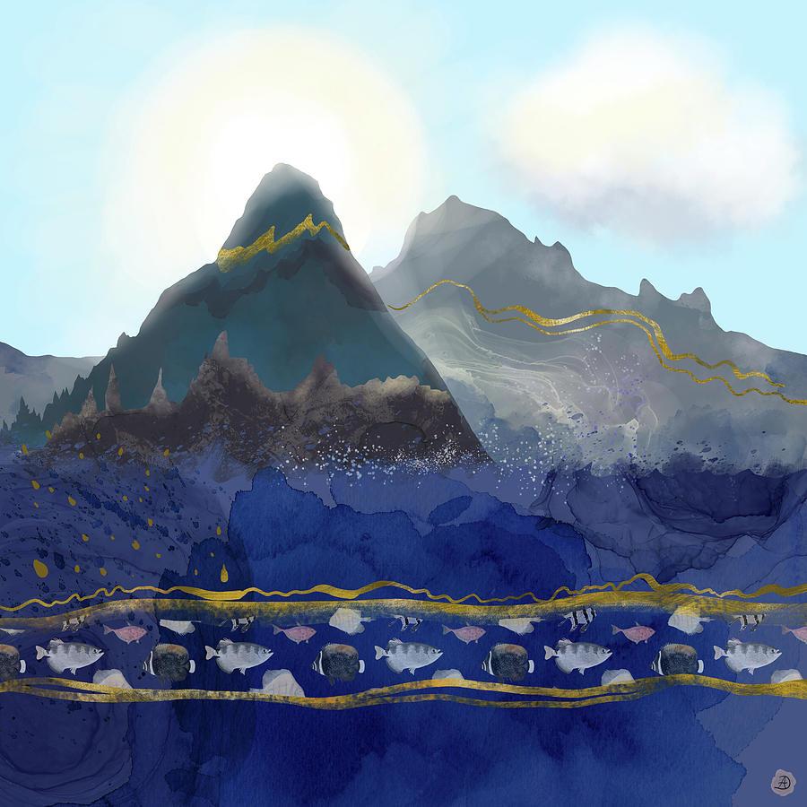 Nature Digital Art - Mountains Meet the Ocean by Andreea Dumez