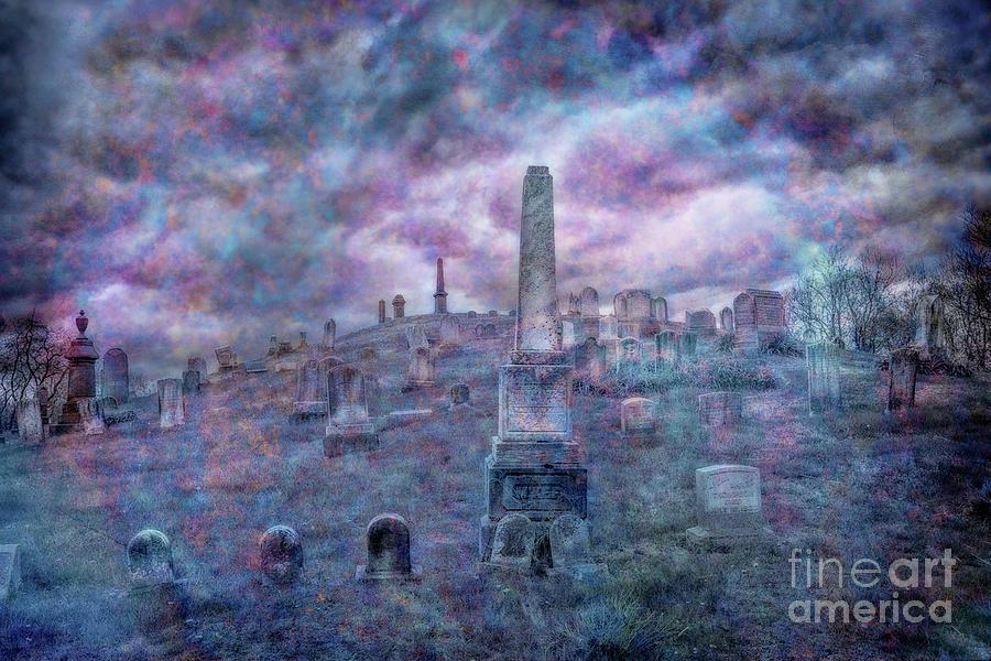 Mournful Cemetery Sky Digital Art