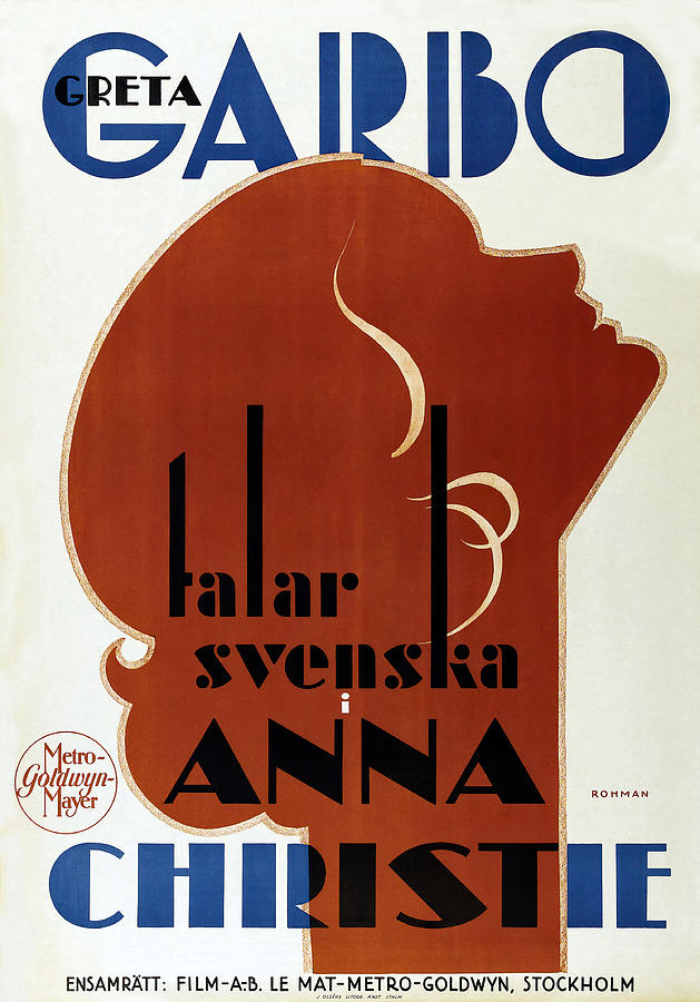 Movie Poster anna Christie, With Greta Garbo, 1930 Mixed Media