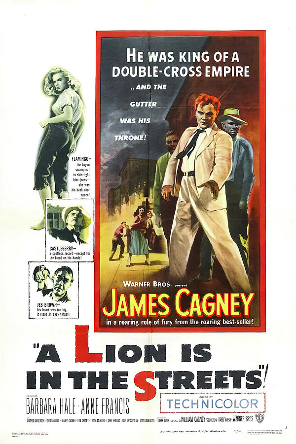 Movie Poster For a Lion Is In The Streets, With James Cagney, 1953 Mixed Media