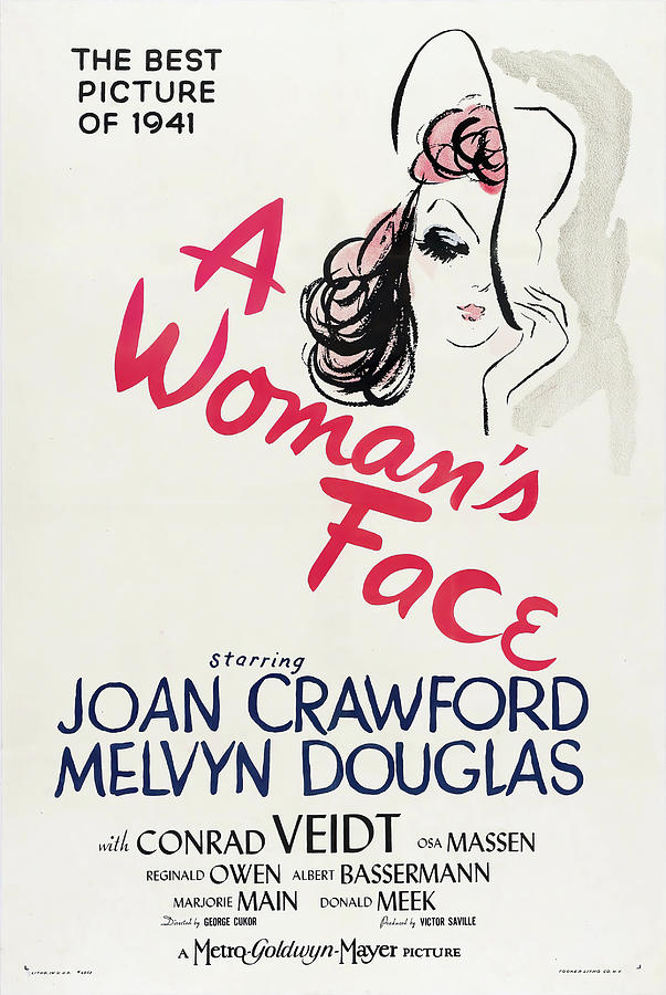 Movie Poster For a Womans Face, With Joan Crawford, 1941 Mixed Media