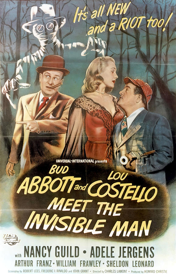 Movie Poster For abbott And Costello Meet The Invisible Man, 1951 Mixed Media