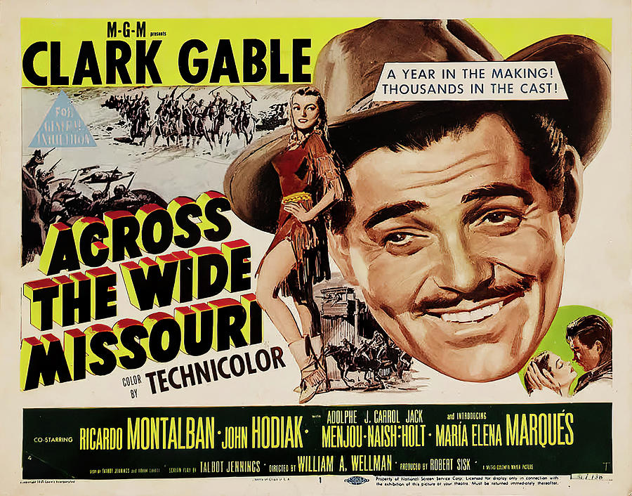 Movie Poster For across The Wide Missouri, With Clark Gable, 1951 Mixed Media