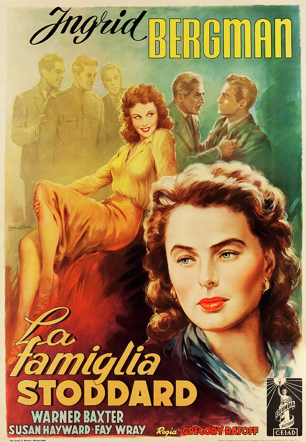 Movie Poster For adam Had Four Sons, With Ingrid Bergman, 1941 Mixed Media