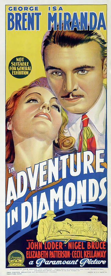 Movie Poster For adventure In Diamonds, 1940 Mixed Media