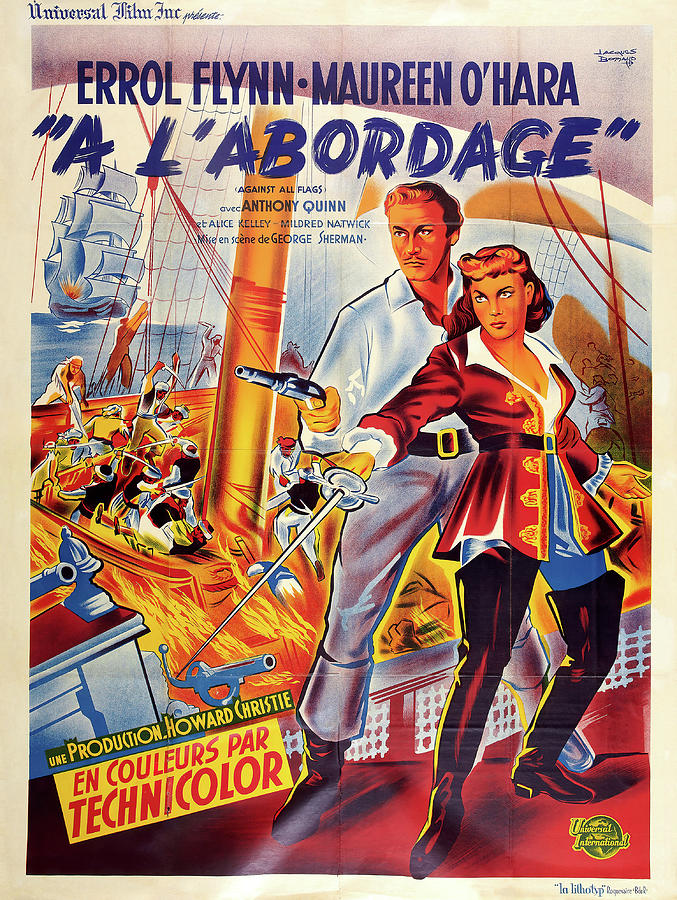 Movie Poster For against All Flags, With Errol Flynn, 1952 Mixed Media