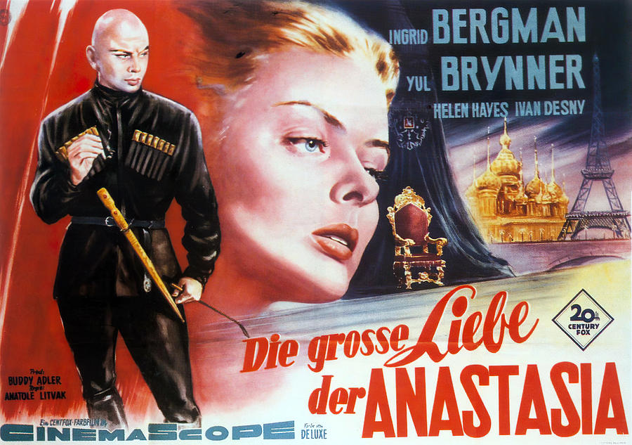 Movie Poster For anastasia, With Ingrid Bergman And Yul Brynner, 1956 Mixed Media