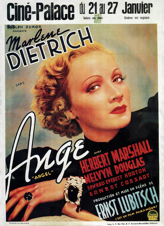Movie Poster For angel, With Marlene Dietrich, 1937 Mixed Media