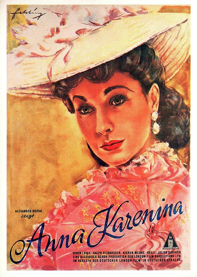 Movie Poster For anna Karenina, With Vivien Leigh, 1948 Mixed Media