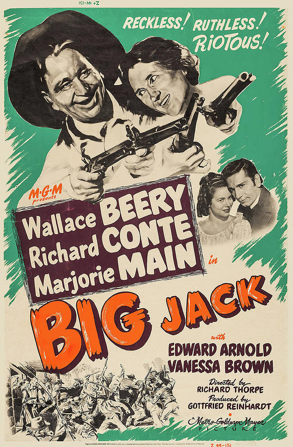 Movie Poster For big Jack With Wallace Beery, 1949 Mixed Media