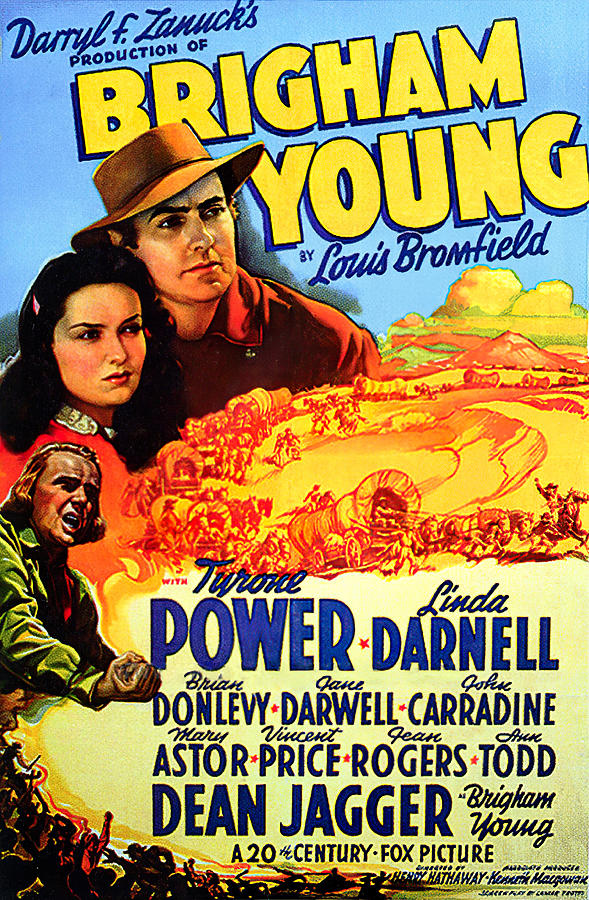 Movie Poster For brigham Young, With Tyrone Power And Linda Darnell, 1940 Mixed Media