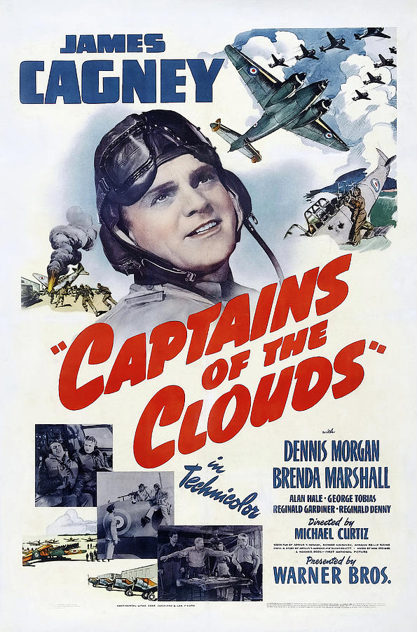 Movie Poster For captains Of The Clouds With James Cagney, 1942 Mixed Media