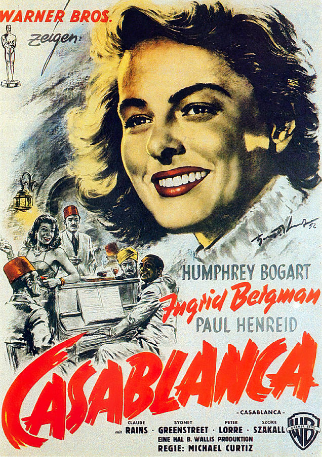 Movie Poster For casablanca, With Humphrey Bogart And Ingrid Bergman, 1942 Mixed Media