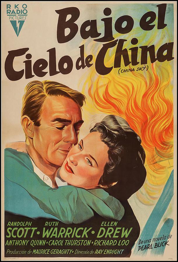 Movie Poster For china Sky, With Randolph Scott, 1945 Mixed Media