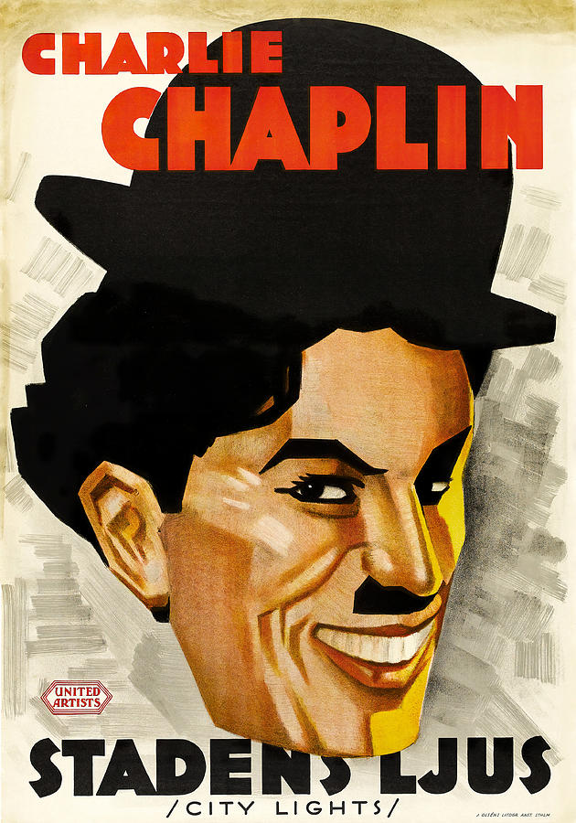 Movie Poster For city Lights, With Charlie Chaplin, 1931 Mixed Media