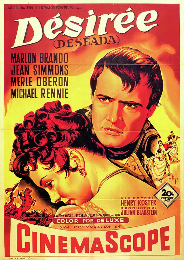 Movie Poster For desiree, With Marlon Brando, 1954 Mixed Media