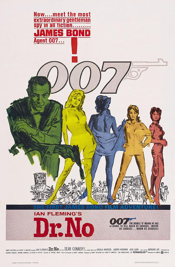 Movie Poster For dr. No, With Sean Connery, 1963 Mixed Media