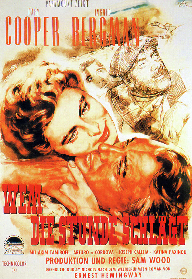 Movie Poster For for Whom The Bell Tolls, With Gary Cooper, 1943 Mixed Media