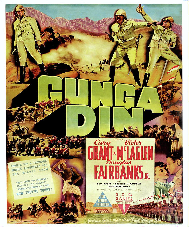 Movie Poster For gunga Din With Cary Grant, 1939 Mixed Media