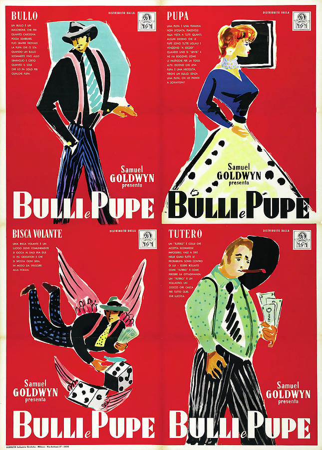Movie Poster For guys And Dolls, 1955 Mixed Media