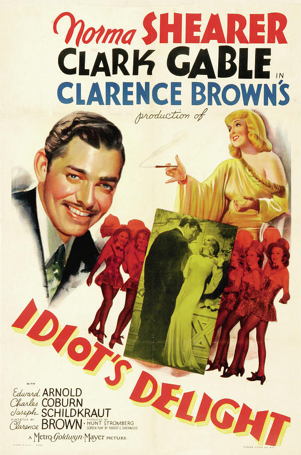 Movie Poster For idiots Deslight, With Clark Gable And Norma Shearer, 1939 Mixed Media