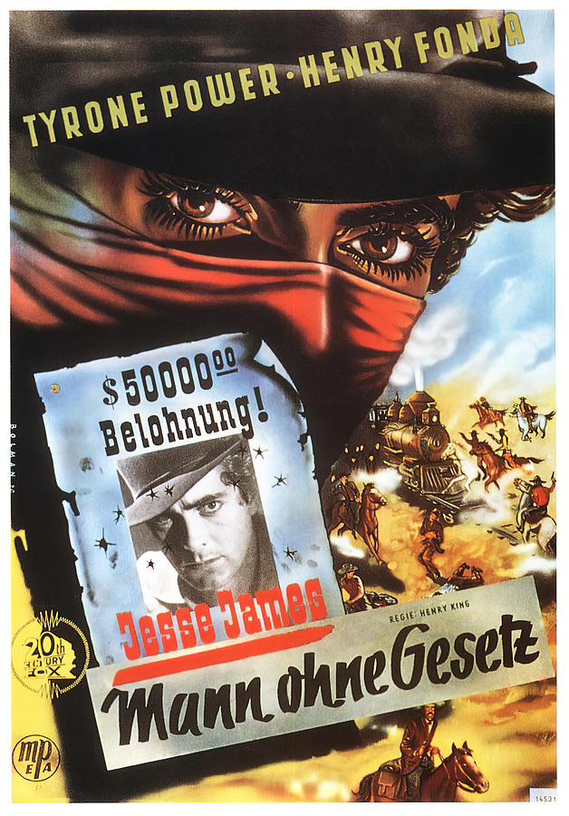 Movie Poster For jesse James, 1939 Mixed Media