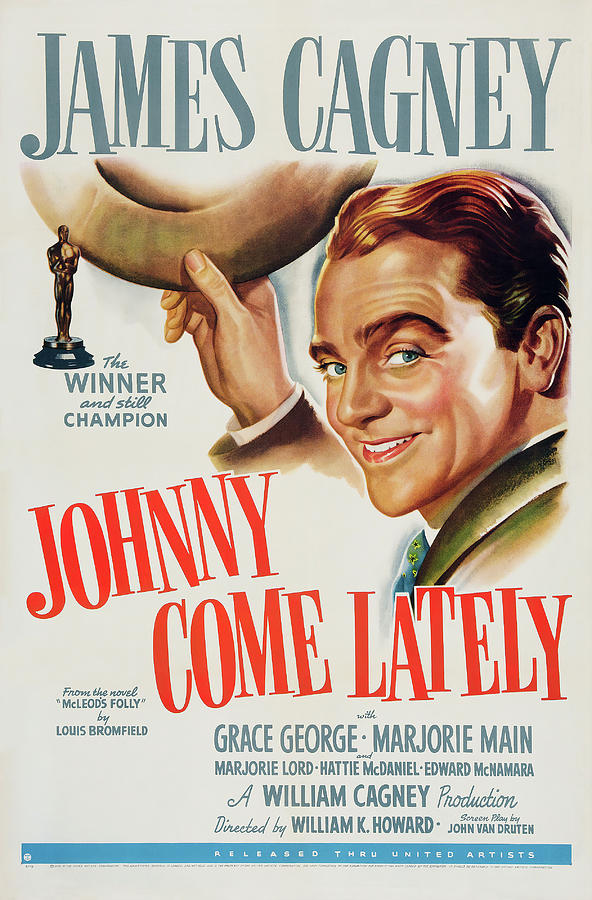 Movie Poster For johnny Come Lately, With James Cagney, 1943 Mixed Media