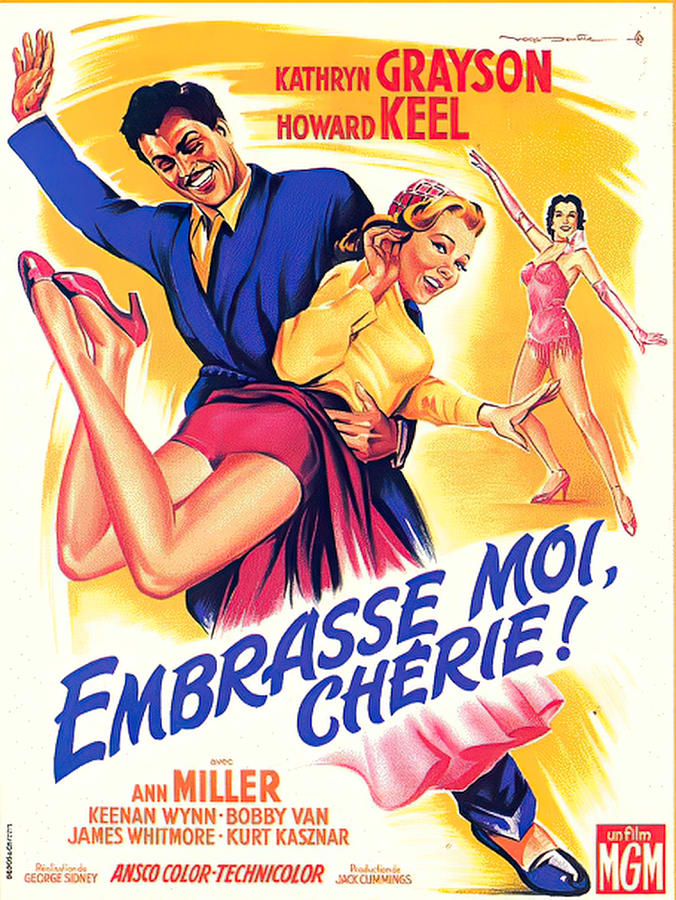 Movie Poster For kiss Me Kate, With Kathryn Grayson And Howard Keel, 1953 Mixed Media