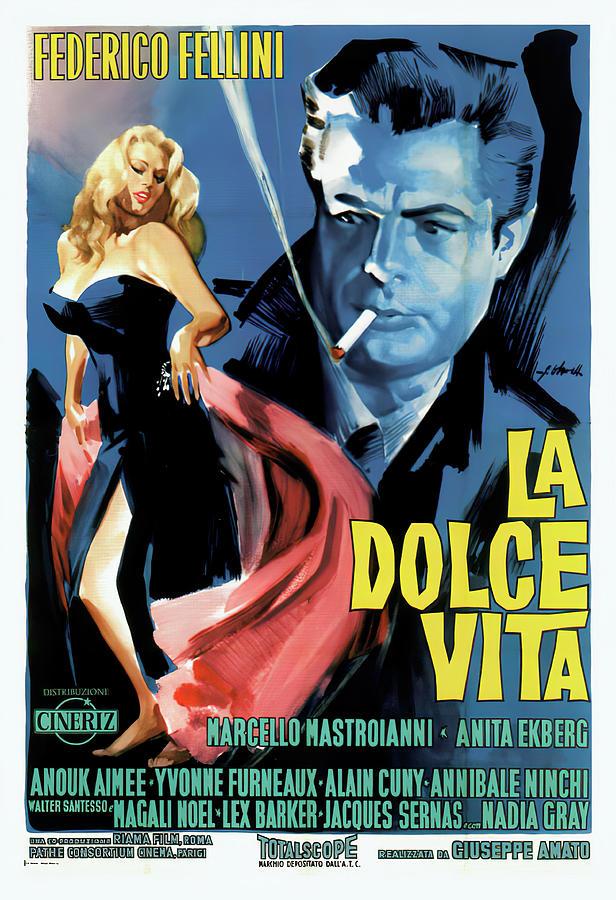 Movie Poster For la Dolce Vita 1960 Mixed Media