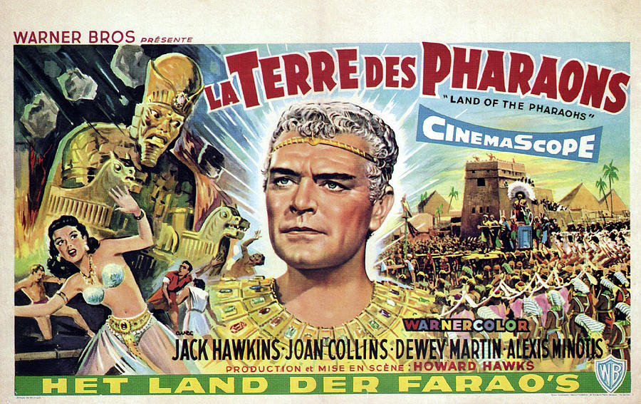 Movie Poster For land Of The Pharaohs, 1955 Mixed Media
