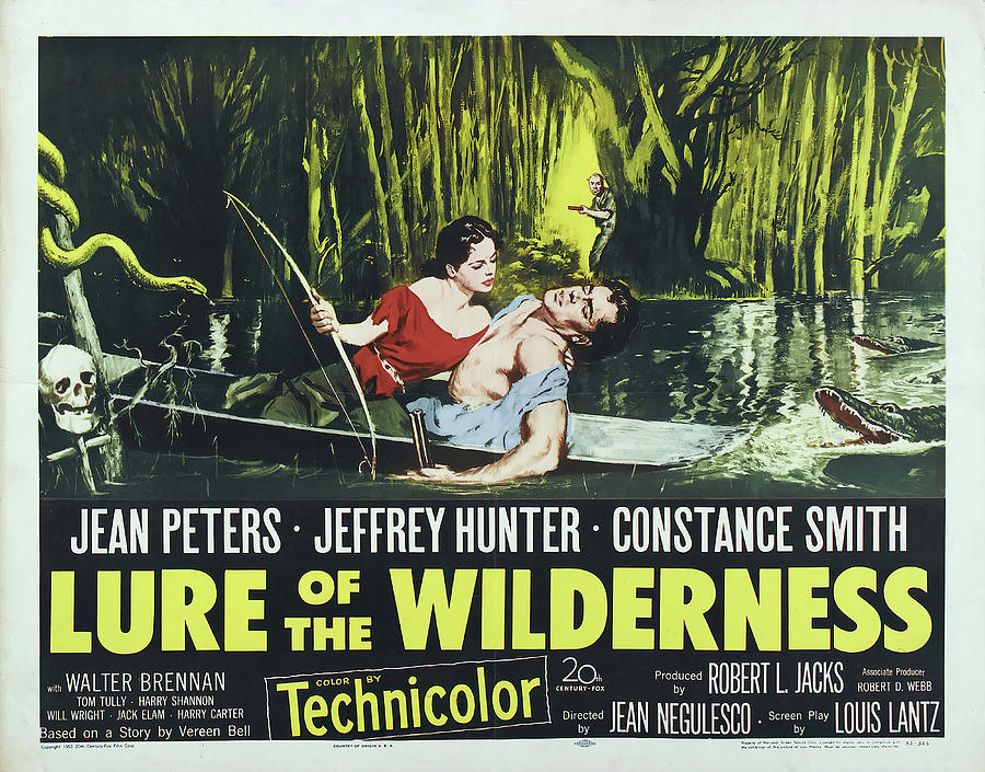 Movie Poster For lure Of The Wilderness, With Jean Peters, 1952 Mixed Media