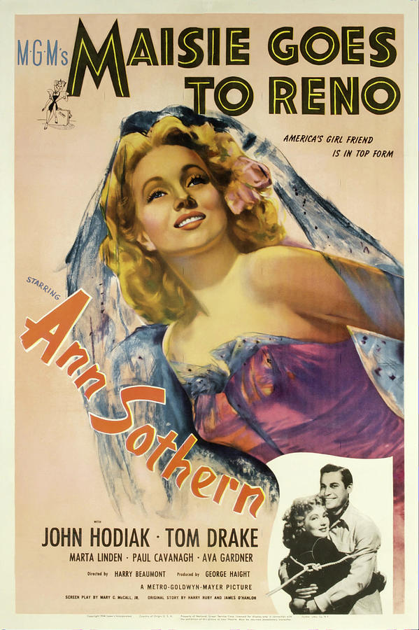 Movie Poster For maisie Goes To Reno, With Ann Sothern, 1944 Mixed Media