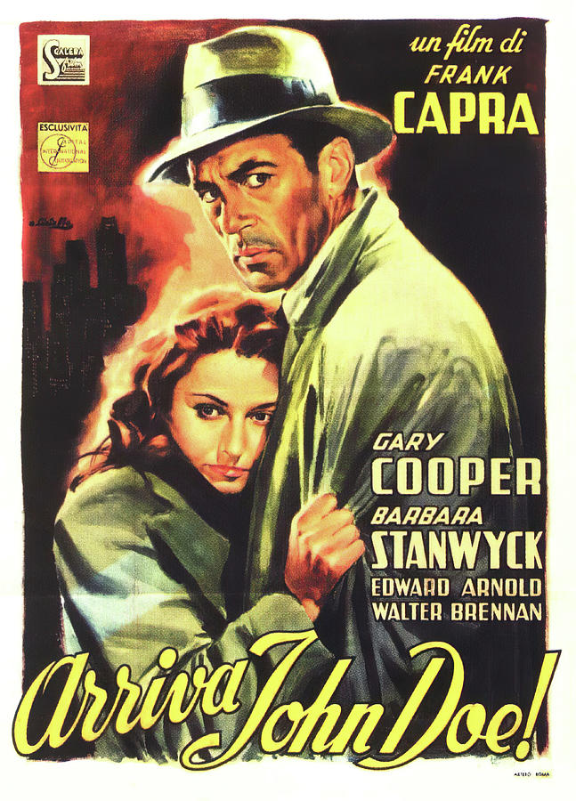 Movie Poster For meet John Doe, With Gary Cooper And Barbara Stanwyck, 1941 Mixed Media