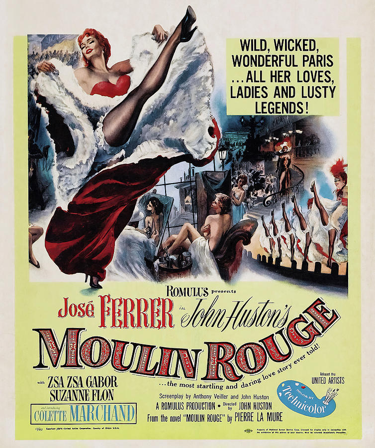 Movie Poster For moulin Rouge, With Jose Ferrer, 1952 Mixed Media