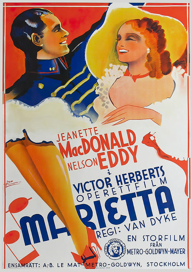Movie Poster For naughty Marietta, With Jeanette Macdonald And Nelson Eddy, 1935 Mixed Media