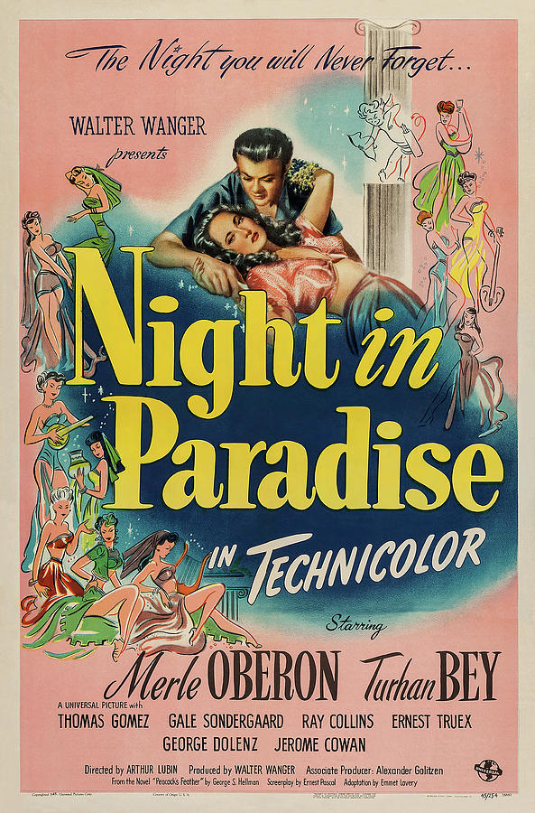Movie Poster For night In Paradise, With Merle Oberon, 1946 Mixed Media