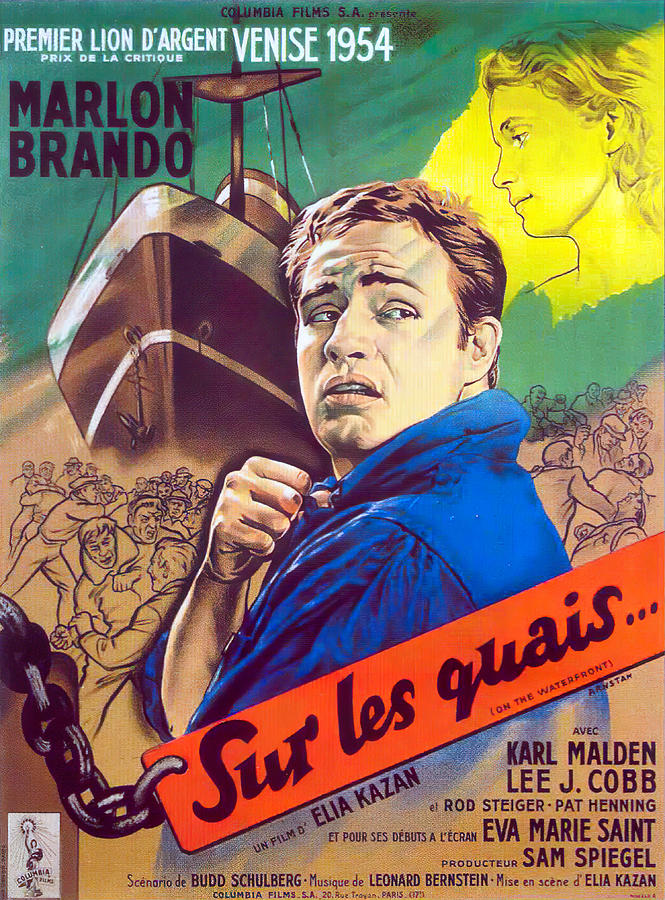 Movie Poster For on The Waterfront, With Marlon Brando, 1954 Mixed Media